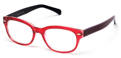 Angle of The Lincoln Park in Red/Purple, Women's and Men's Retro Square Reading Glasses