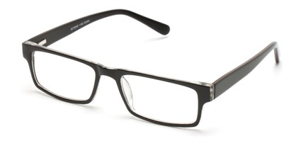 Angle of The Holland in Black, Women's and Men's Rectangle Reading Glasses