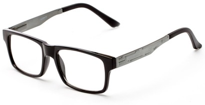 Angle of The Andre Aluminum Reader in Black/Grey, Women's and Men's Retro Square Reading Glasses