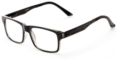 Angle of The Andre Aluminum Reader in Black, Women's and Men's Retro Square Reading Glasses