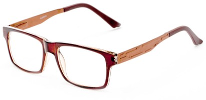 Angle of The Andre Aluminum Reader in Brown, Women's and Men's Retro Square Reading Glasses