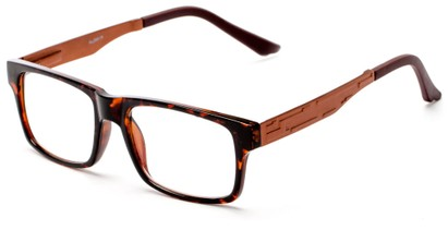 Angle of The Andre Aluminum Reader in Tortoise/Bronze, Women's and Men's Retro Square Reading Glasses