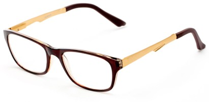 Angle of The Candice Aluminum Reader in Brown/Gold, Women's and Men's Cat Eye Reading Glasses