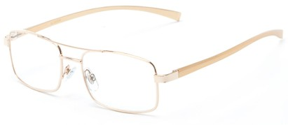 Angle of The Lennie Aluminum Reader in Gold, Men's Aviator Reading Glasses