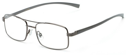 Angle of The Lennie Aluminum Reader in Grey, Men's Aviator Reading Glasses