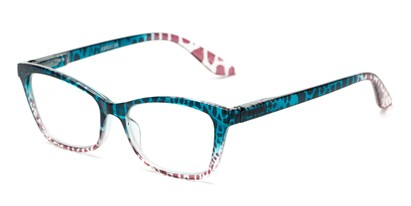 Angle of The Zelda in Blue/Brown Leopard, Women's Cat Eye Reading Glasses