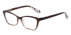 Angle of The Zelda in Brown Leopard, Women's Cat Eye Reading Glasses