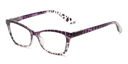 Angle of The Zelda in Purple/Brown Leopard, Women's Cat Eye Reading Glasses