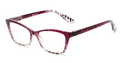 Angle of The Zelda in Red/Brown Leopard, Women's Cat Eye Reading Glasses