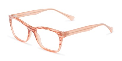 Angle of The Zinnia Customizable Reader in Orange/Brown Stripes, Women's Cat Eye Reading Glasses