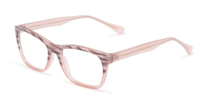 Angle of The Zinnia Customizable Reader in Pink/Black Stripes, Women's Cat Eye Reading Glasses