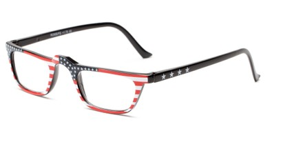 Angle of The Americana in Flag B, Women's and Men's Rectangle Reading Glasses