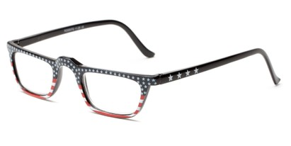 Angle of The Americana in Stars on top, Women's and Men's Rectangle Reading Glasses