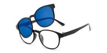 38aa27fc191 Angle of The Arrow Magnetic Reading Sunglasses in Black with Blue Mirror