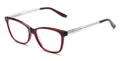 Angle of The Astor Signature Reader in Red/Clear, Women's Cat Eye Reading Glasses