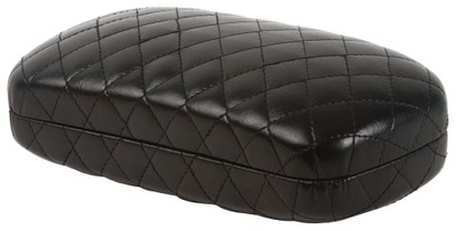 Angle of Extra Large Black Quilted Case  in Black, Women's and Men's