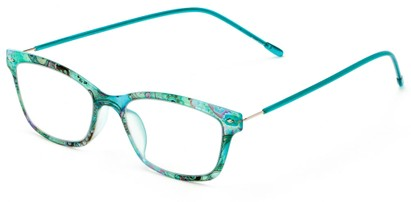 Angle of The Clementine Flexible Reader in Blue Paisley, Women's Rectangle Reading Glasses