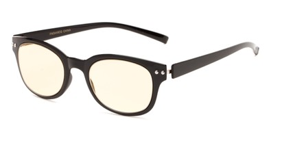 Angle of The Barnett Unmagnified Computer Glasses in Black with Yellow, Women's and Men's Retro Square Reading Glasses