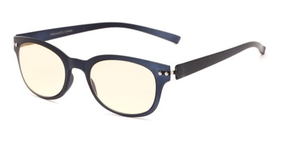 Angle of The Barnett Unmagnified Computer Glasses in Blue with Yellow, Women's and Men's Retro Square Reading Glasses