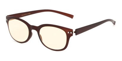 Angle of The Barnett Unmagnified Computer Glasses in Brown with Yellow, Women's and Men's Retro Square Reading Glasses