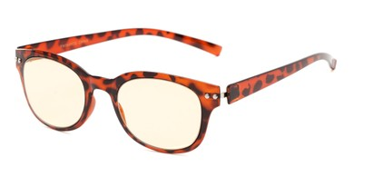 Angle of The Barnett Unmagnified Computer Glasses in Tortoise with Yellow, Women's and Men's Retro Square Reading Glasses
