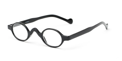 Angle of The Basil in Black, Women's and Men's Oval Reading Glasses