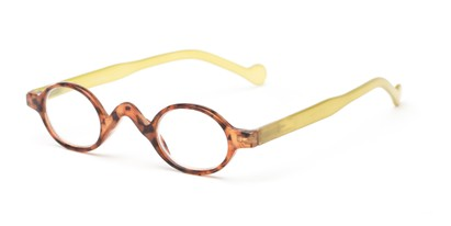 Angle of The Basil in Tortoise/Lime Green, Women's and Men's Oval Reading Glasses