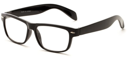 Angle of The Beckman in Black, Women's and Men's Retro Square Reading Glasses