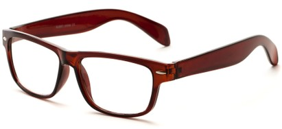 Angle of The Beckman in Clear Brown, Women's and Men's Retro Square Reading Glasses