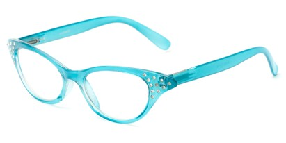 Angle of The Betty in Light Blue, Women's Cat Eye Reading Glasses