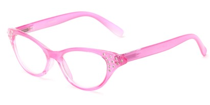 Angle of The Betty in Pink, Women's Cat Eye Reading Glasses
