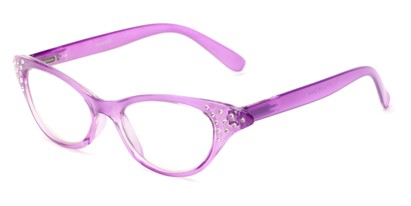 Angle of The Betty in Purple, Women's Cat Eye Reading Glasses