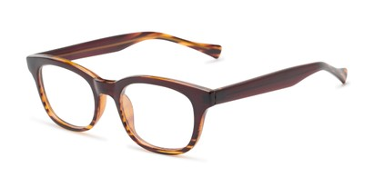 Angle of The Kipling Customizable Reader in Brown Fade, Women's and Men's Retro Square Reading Glasses