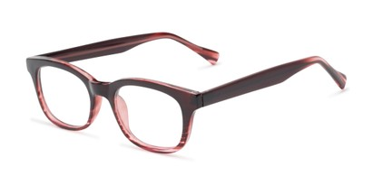 Angle of The Kipling Customizable Reader in Dark Red Fade, Women's and Men's Retro Square Reading Glasses