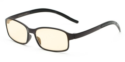 Angle of The Bogart Unmagnified Computer Glasses in Matte Black with Yellow, Women's and Men's Rectangle Reading Glasses