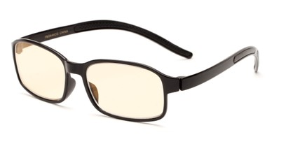 Angle of The Bogart Unmagnified Computer Glasses in Glossy Black with Yellow, Women's and Men's Rectangle Reading Glasses