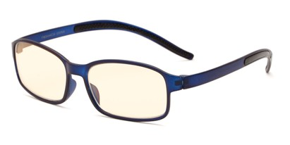 Angle of The Bogart Unmagnified Computer Glasses in Matte Blue with Yellow, Women's and Men's Rectangle Reading Glasses