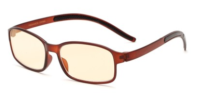 Angle of The Bogart Unmagnified Computer Glasses in Matte Brown with Yellow, Women's and Men's Rectangle Reading Glasses