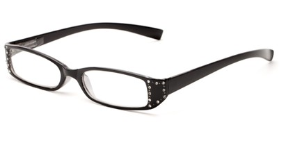 Angle of The Bonnie in Black, Women's Rectangle Reading Glasses