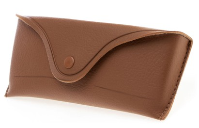 Angle of Classic Faux Leather Glasses Case in Brown, Women's and Men's  Soft Cases / Pouches