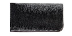 Angle of Faux Leather Expandable Glasses Pouch in Black, Women's and Men's  Soft Cases / Pouches