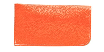 Angle of Faux Leather Expandable Glasses Pouch in Orange, Women's and Men's  Soft Cases / Pouches