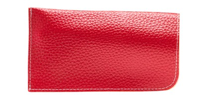 Angle of Faux Leather Expandable Glasses Pouch in Red, Women's and Men's  Soft Cases / Pouches