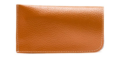 Angle of Faux Leather Expandable Glasses Pouch in Tan, Women's and Men's  Soft Cases / Pouches