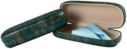 Angle of Ombré Reading Glasses Case #1095 in Dark Teal, Women's and Men's