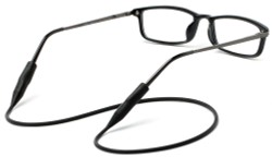 Angle of Stretchy Eyewear Cord in Black, Women's and Men's  Neck Cords