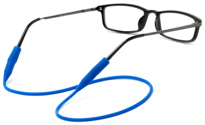 Angle of Stretchy Eyewear Cord in Blue, Women's and Men's  Neck Cords