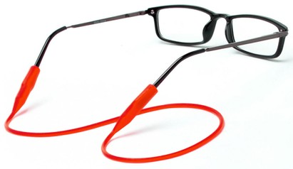 Angle of Stretchy Eyewear Cord in Red, Women's and Men's  Neck Cords