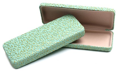 Angle of Extra Thin Reading Glasses Case #915 in Mint Green, Women's and Men's