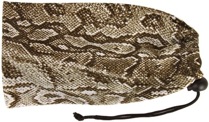Angle of Printed Glasses Pouch #255 in Brown Snake Print, Women's and Men's